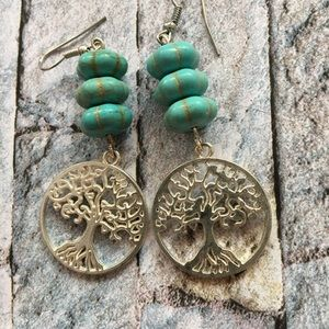 💍Green Tree Drop Earring